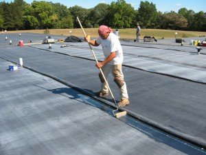 Rolled rubber roofing is, literally, rolled roofing.