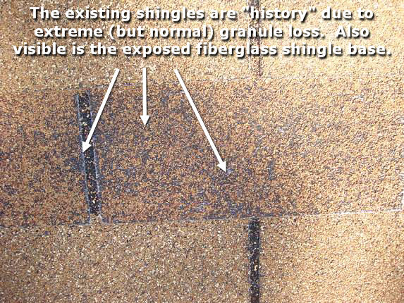 When shingles lose their granules, replace them.