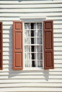 Vinyl window trim adds a decorative touch to windows.